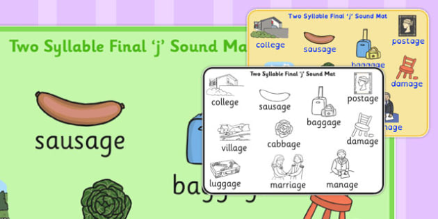 Two Syllable Final 'J' Sound Word Mat - final j, sound, word mat