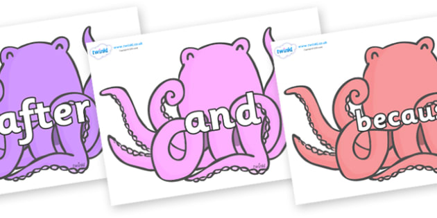 Connectives on Octopus to Support Teaching on The Rainbow Fish - Connectives, VCOP, connective resources, connectives display words, connective displays