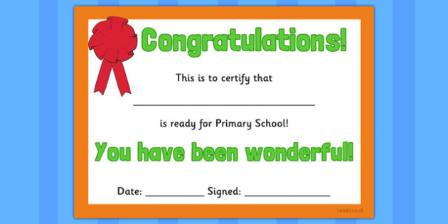 Ready for Primary School Certificate - ready, primary, certificate, award