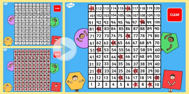 0-120 Number Square PowerPoint - number square, powerpoint, 0-120