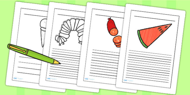 Story Writing Frames to Support Teaching on The Very Hungry Caterpillar - the very hungry caterpillar, writing frames, writing aids, writing guide, line guide, story frames