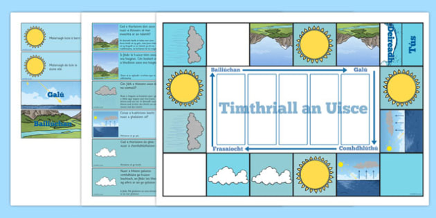 Water Cycle Game Gaeilge - science, geography, nature, water, rain, activity, fun