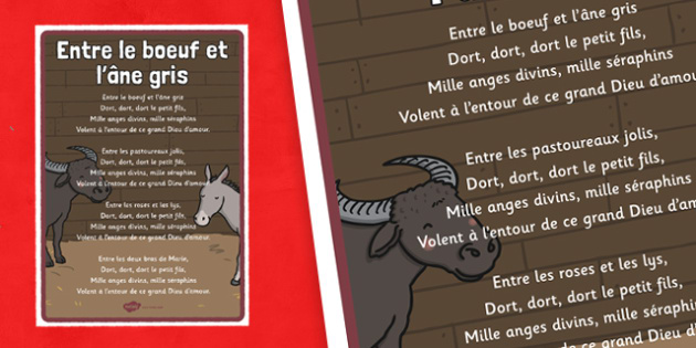 Entre le boeuf et l'âne gris Lyrics Poster - french, between the ox and the grey donkey