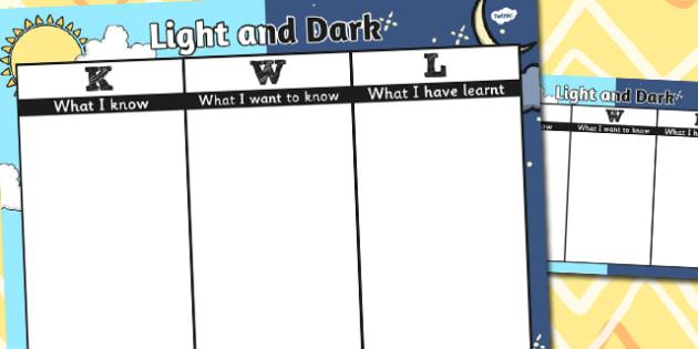 Light and Dark Topic KWL Grid - light, dark, topic, kwl, grid