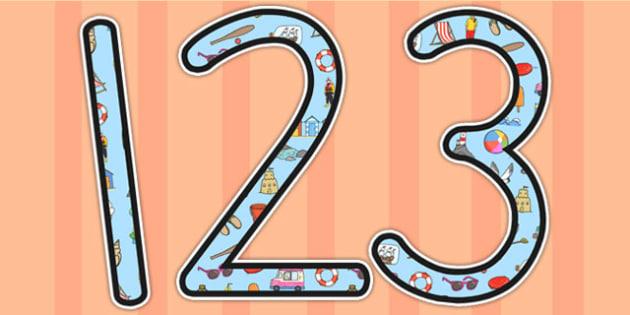 Summer Themed Display Numbers - summer, seasons, numbers, display