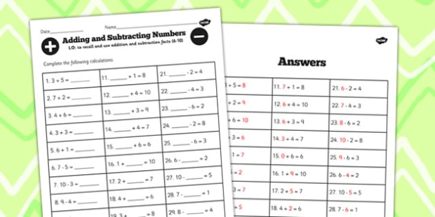 Number Facts Worksheet 6-10 - numbers, facts, 6, 10, worksheet