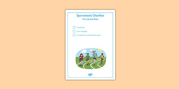 Sportsman Checklist - good sportsmanship, checklist, good sport, sports, competition