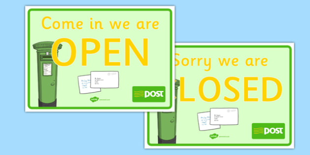 Post Office Open and Closed Signs - role play, display, label