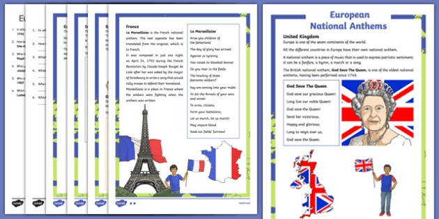 European National Anthems Differentiated Reading Comprehension Activity