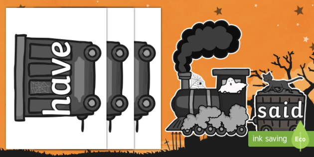Halloween Ghost Train Phase 4 Tricky Words Display Cut-Outs