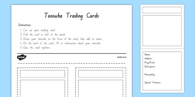 Taniwha Trading Cards Activity Sheet, worksheet