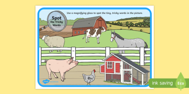 Phase 2 Tricky Words Farm Scene Magnifying Glass Activity Sheet, worksheet
