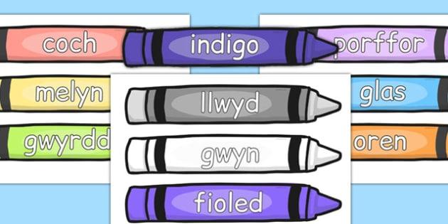 Geiriau Lliwiau ar Creonau - cymraeg, colour, words, crayons, colour words