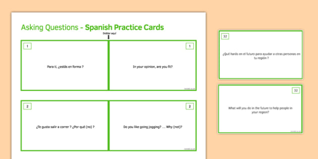 General Conversation Social Issues Question Double Sided Cards Spanish English