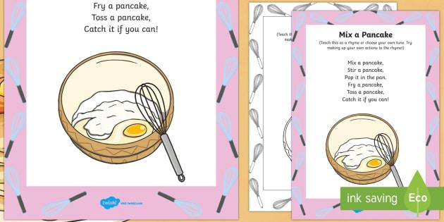 Mix a Pancake Rhyme - Shrove Tuesday, mix a pancake, rhyme, song, sing