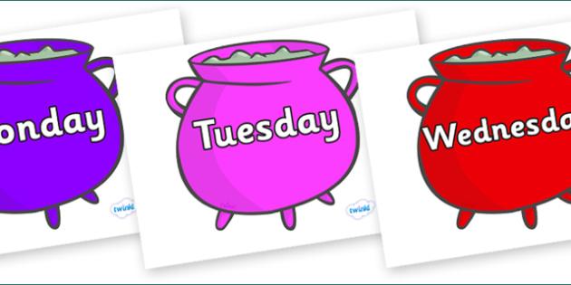 Days of the Week on Cauldrons (Multicolour) - Days of the Week, Weeks poster, week, display, poster, frieze, Days, Day, Monday, Tuesday, Wednesday, Thursday, Friday, Saturday, Sunday