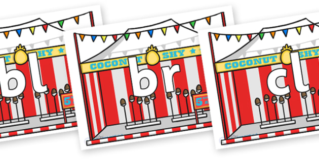 Initial Letter Blends on Fairground Coconut Stands - Initial Letters, initial letter, letter blend, letter blends, consonant, consonants, digraph, trigraph, literacy, alphabet, letters, foundation stage literacy