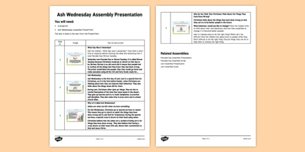 Ash Wednesday Assembly Script - Ash Wednesday, Assembly, Lent, script