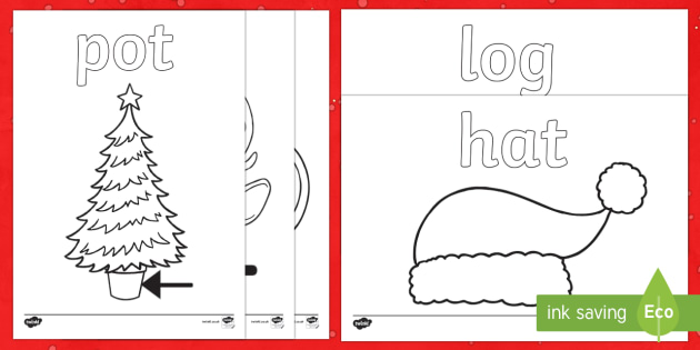 Christmas CVC Words Colouring Pages