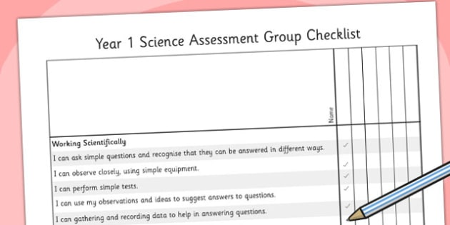2014 Curriculum Year 1 Science Assessment Group Checklist - target