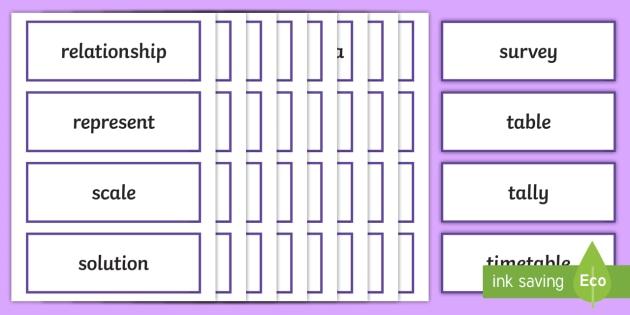 Year 5 2014 Curriculum Data and Statistics Vocabulary Cards