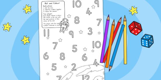Stars Roll and Colour Dice Addition Activity - australia, stars