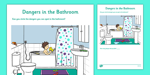 Dangers in the Bathroom Activity Sheet - CfE, Early Level, SHANARRI, keeping myself safe, safety, health and wellbeing, safety in the home, worksheet