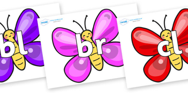 Initial Letter Blends on Butterflies - Initial Letters, initial letter, letter blend, letter blends, consonant, consonants, digraph, trigraph, literacy, alphabet, letters, foundation stage literacy