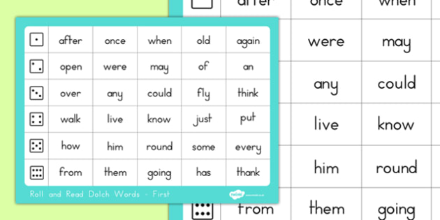 Dolch Word List First Roll and Read Mat - usa, america, dolch, word list, roll and read, mat, first