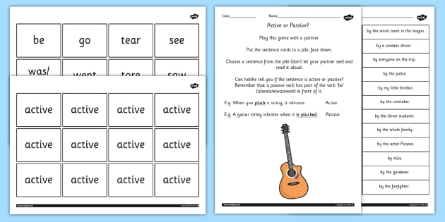 Use Passive Verbs Lesson Ideas and Resource Pack - verb, literacy
