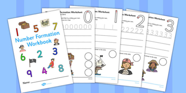Number Formation Workbook Pirates Romanian Translation - romanian, overwriting