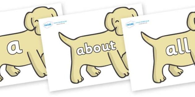 100 High Frequency Words on Puppies - High frequency words, hfw, DfES Letters and Sounds, Letters and Sounds, display words