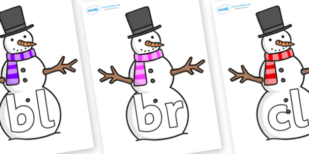 Initial Letter Blends on Snowman - Initial Letters, initial letter, letter blend, letter blends, consonant, consonants, digraph, trigraph, literacy, alphabet, letters, foundation stage literacy