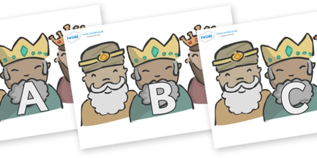 A-Z Alphabet on Three Kings - A-Z, A4, display, Alphabet frieze, Display letters, Letter posters, A-Z letters, Alphabet flashcards