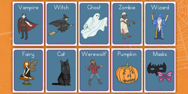Halloween Fancy Dress Shop Role Play Posters - american, us, usa, trick or treat, role play, shopping, maths, adding, money, counting, dressing up, costumes, display, kindergarten, ks1, early years, visual aids, decoration