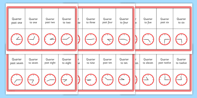 Quarter Past and To Matching Threading Cards - matching, cards