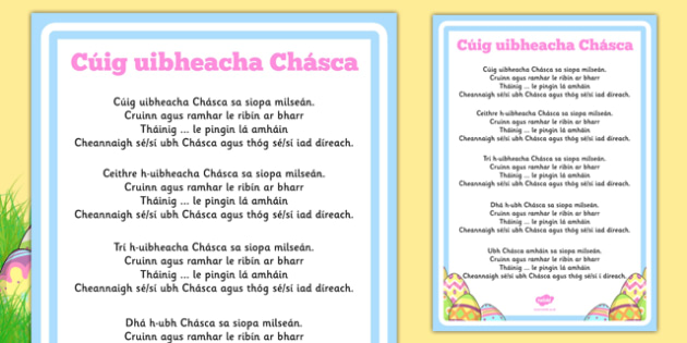 Five Easter Eggs Counting Song Sheet Gaeilge - gaeilge, counting, song, sheet