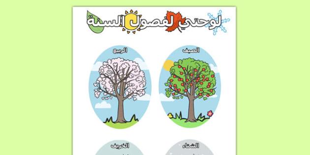 الفصول الأربعة - فصول السنة، وسائل تعليمية عن الفصول الأربعة
