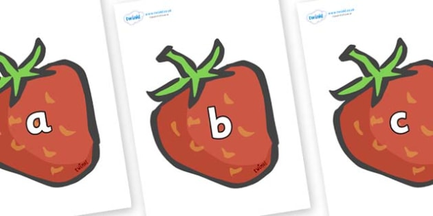 Phase 2 Phonemes on Strawberries - Phonemes, phoneme, Phase 2, Phase two, Foundation, Literacy, Letters and Sounds, DfES, display