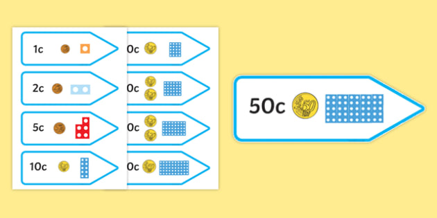 Number Shape Price Labels with Euro Coins - number shape, price, labels, euro, coins, number, shape