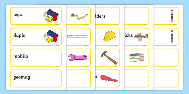 Yellow Themed Editable Construction Area Resource Labels - Themed Construction resource labels, Label template, Resource Label, Name Labels, Editable Labels, Drawer Labels, KS1 Labels, Foundation Labels, Foundation Stage Labels