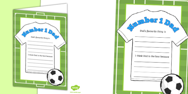Number 1 Dad Football Shirt Gift Card Template