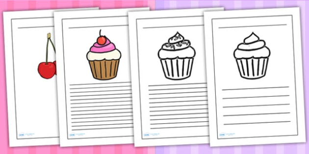 Cupcake Themed Writing Frames - writing templates, food, write