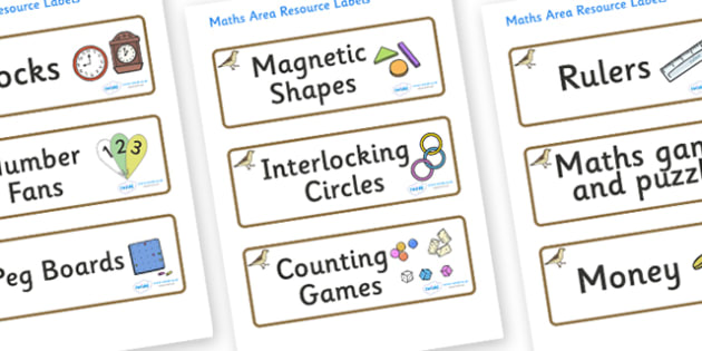 Sparrow Themed Editable Maths Area Resource Labels - Themed maths resource labels, maths area resources, Label template, Resource Label, Name Labels, Editable Labels, Drawer Labels, KS1 Labels, Foundation Labels, Foundation Stage Labels, Teaching Lab