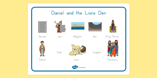 Daniel and the Lion's Den Word Mat - usa, america, Daniel and the Lions, Daniel, Lions, lion pit, word mat, writing aid, mat, Babylon, King Darius, governors, God, pray, den, bible story, bible