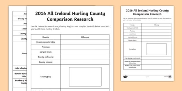 2016 All Ireland Hurling Final County Comparison Research Activity Sheet-Irish, worksheet