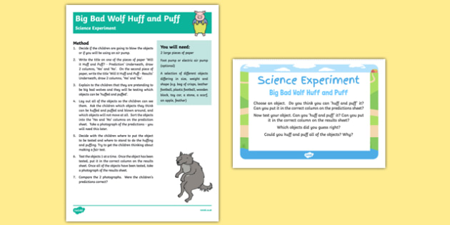 Can You Huff and Puff It? Science Experiment and Prompt Card Pack