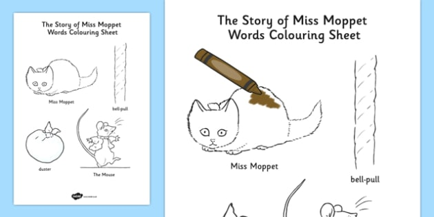 Beatrix Potter - The Story of Miss Moppet Words Colouring Sheet - beatrix potter, miss moppet