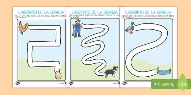 En la granja Ficha de motricidad fina..reseguir-Spanish