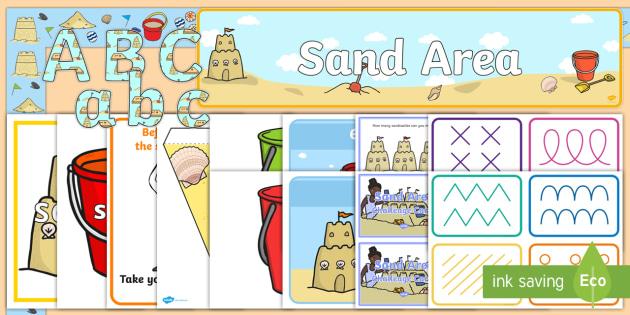 EYFS Sand Area Classroom Set Up Pack - sand area, classroom, set up